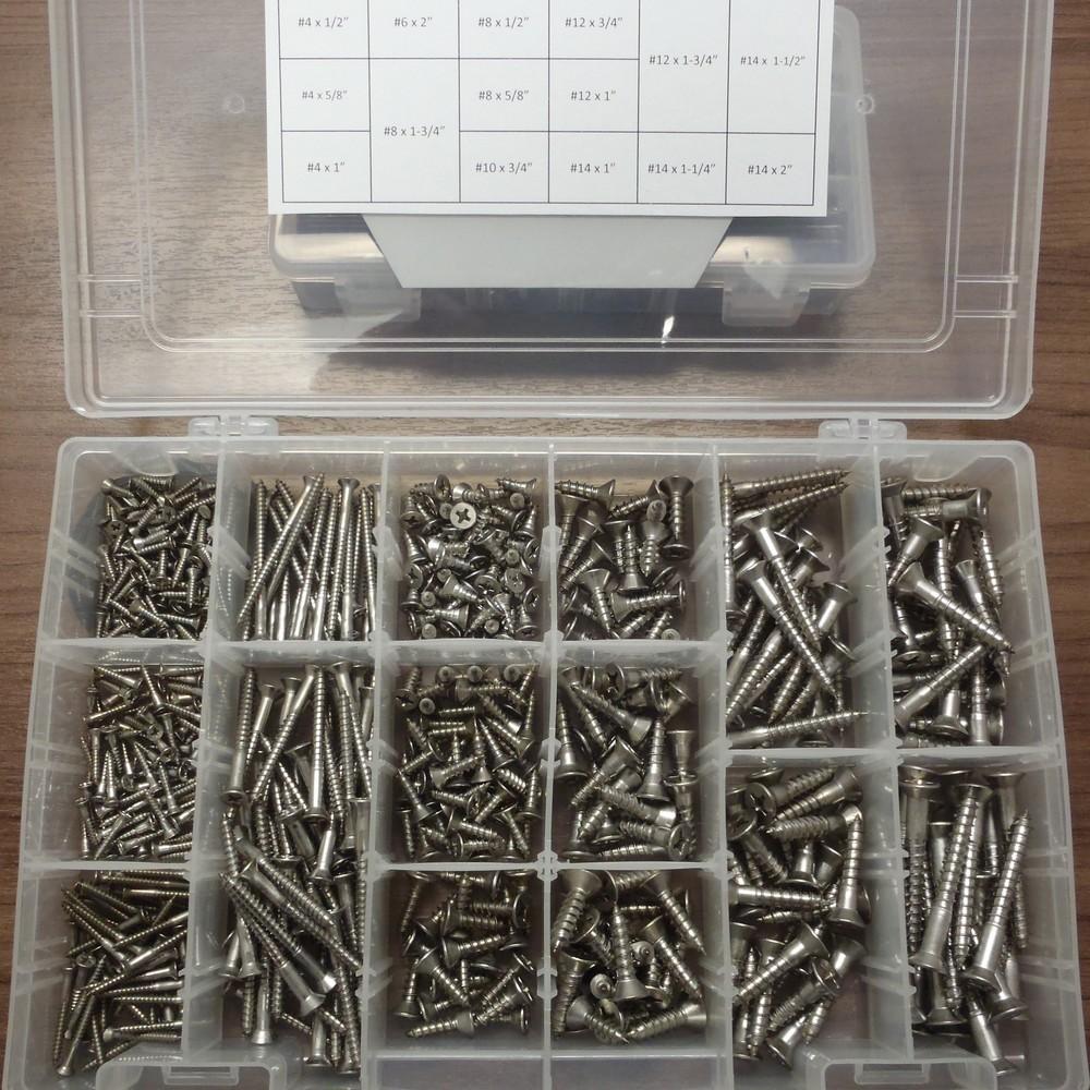 18-8 SS Wood Screw Kit - PF WOOD SCREW ASST SS