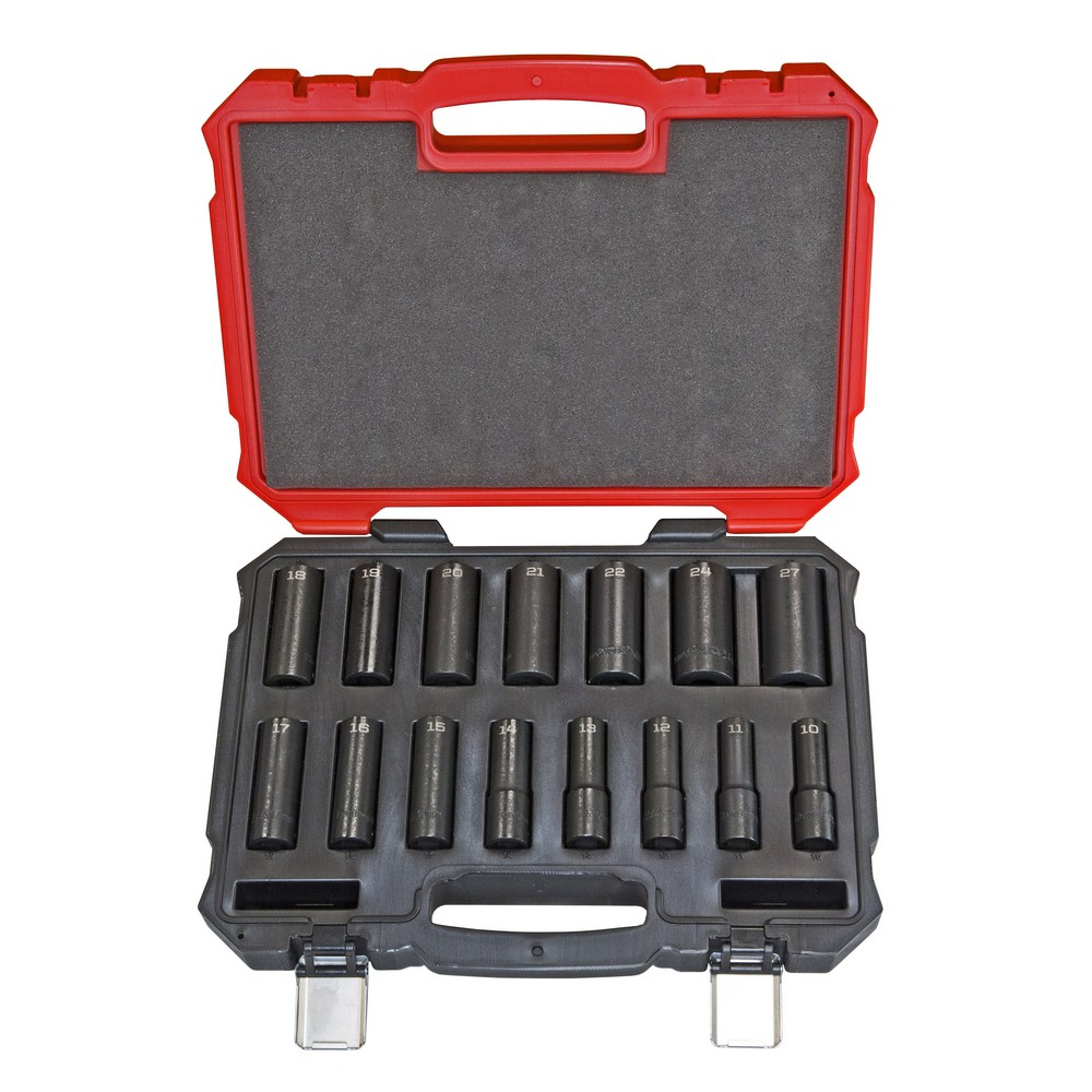 "1/2"" Drive Metric 6pt. 15 Piece Deep Impact Socket Set -S12101"